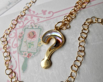 Abalone Question Mark Necklace, ? Necklace, Shell Question Mark, Question Mark Necklace, Vintage Pendant, Petite jewelry
