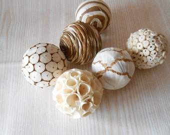 Set of 6 Decorative Balls, Bowl Fillers, Wedding Table Decor, Rustic decor, Cottage Style,Eco Friendly Decor, Natural Decor Country,