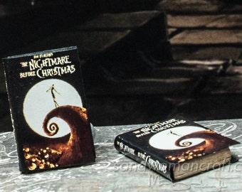 Miniature book-Nightmare Before Christmas-1 inch scale-1:12 scale-Dollhouse Miniatures-Paper Display Book-Faux Pages-Mini Book-Halloween