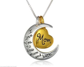 Mom I Love You To The Moon and Back Charm Necklace Sterling Silver Gold Flashed