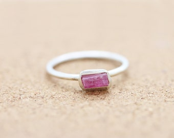 Sterling Silver Raw Pink Tourmaline Ring - Rough Gemstone Ring- Stacking Ring -Boho Ring - Raw Crystal -October Birthstone