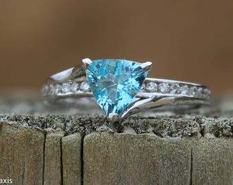 Unique Handmade 9k White Gold 1.24ct Triangle Aquamarine Gemstone Ring Set With Total .36ct F/SI Diamonds
