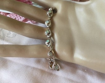 Vintage Sterling Silver tennis chain bracelet with Australian Opals 17 cm long
