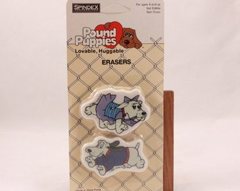 1986 Vintage/New Pound Puppies Erasers. Sealed Package.