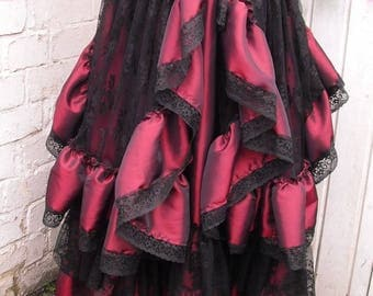 Victorian Gothic Skirt with bustle full length skirt 2 pcs Quirky Hitch Steampunk Saloon Skirt Whitby Burgundy Wine and Black UK10-16