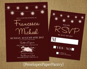 Rustic Burgundy and Blush Wedding Invitation,Burgundy,Blush Roses,Fairy Lights,Gold Print,Shimmery,Elegant,Custom,Printed Invitation,or Sets