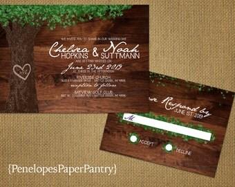 Romantic Rustic Summer Wedding Invitation,Oak Tree,Green Leaves,Carved Heart,Carved Initials,Rustic Wood,Custom,Printed Invitations,Opt RSVP