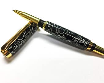 Zebra Jasper Wed Stone- Handcrafted stone pen. Turned with Gold Plating. Handmade. Handmade Gift