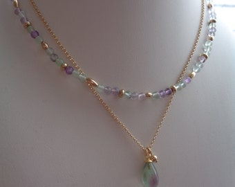 Necklaces with fluorite in 585 gold filled, twin set
