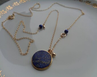 Long gold necklace with lapis lazuli pendant, 585 gold filled