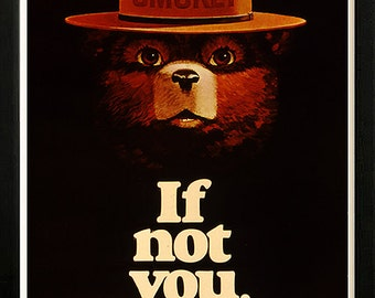 Smokey Bear Fires Dept of Interior Retro poster Custom Framed A+ Quality