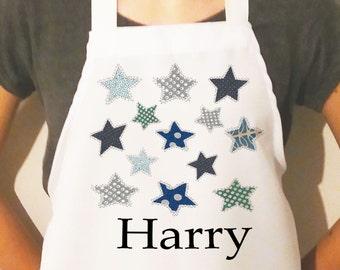 Personalised Kids aprons, Children's  Aprons, Blue Stars Apron, Name on an apron, Boys Apron