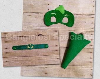 Gekko,Gecko PJ Mask Inspired Costume Mask Tail Bracelet Set/Child/Adult/Pretend Play/Costume/Halloween/Photo Booth/Birthday/Party Favor/Gift