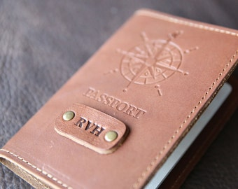 The Expedition Personalized Leather Passport Cover Holder Compass Passport Travel - bridesmaid gifts groomsmen gift custom