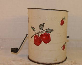 On SALE Bromwells Sifter Red Apples Vintage Cream Colored 3 cup Flour Sifter Black Turn Handle Farmhouse Rustic Kitchen Country Kitchenware