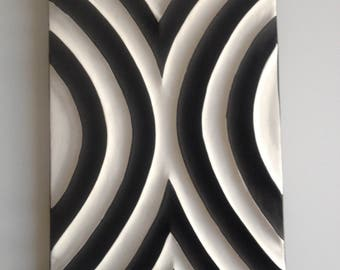 Rwandan craft table with geometric patterns