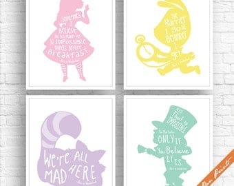 Alice in Wonderland Quotes - Set of 4 Art Print (Unframed) (Featured in Cotton Candy, Lemon, Fairy, Mint) Peter Pan Prints