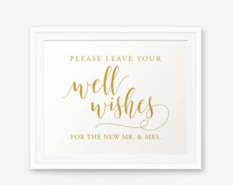 Please Leave Your Wishes, Well Wishes Gold Sign, Wedding Advice Sign, Printable Wedding Sign, Reception Sign, Guest Book Sign, advice sign