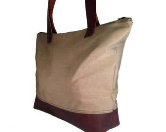 Large leather and canvas tote bag with zipper, handmade leather and canvas bag, leather travel bag, beige canvas leather bag