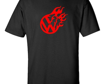 VW FLAME Volkswagen Graphic Tee  100% Screen Printed  ***Free Shipping***