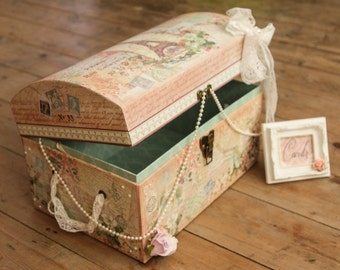 Shabby chic Paris wedding card suitcase and sign.