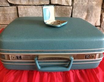 SALE Vintage Hard Sided Small Samsonite Blue Suitcase/Luggage/Travel Case