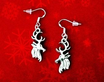 50% SALE Deer Head Earrings..Deer Antler Earrings..Deer Earrings..Reindeer Earrings..Silver Christmas Earrings..Winter Jewelry FREE SHIPPING