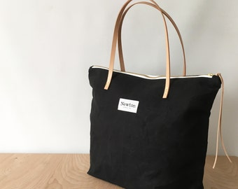 COAL / waxed canvas zip tote