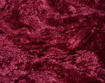"Burgundy Panne Crush Velvet Backdrop Apparel Stretch Fabric - By The Yard - 60"""