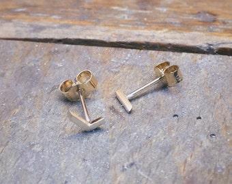 Asymmetric Earrings, Modern Gold Studs, Asymmetrical Stud Earrings, Gold Studs, Gold Bar Studs, Asymmetric Gold Earings, Handmade, Gold Bar