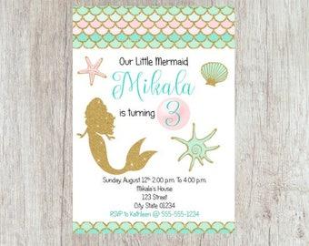 Mermaid Birthday Invitation, Mermaid Birthday, Mermaid Party Invite, Under the Sea Invitation, Under the Sea Party, Printable Invitations