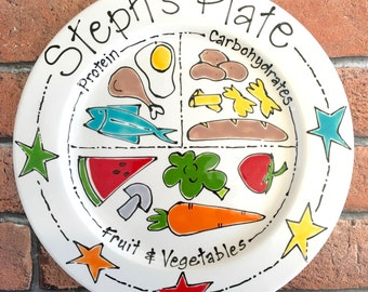 Personalised Hand Painted Health Eating Portion Diet Plate Weight Watchers Slimming World COMPLETELY FOODSAFE