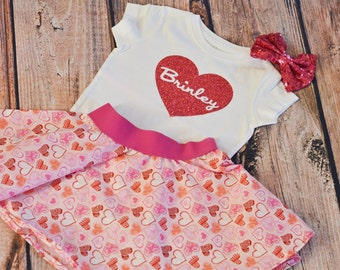 Girls Valentine's Day Outfit - Pink Glitter Heart Name Shirt - Glitter Personalized Bodysuit - Valentines Skirt - Baby Toddler Girl
