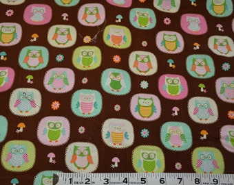 Item 259, Pastel Owls, Chevron and Dots, 100% Cotton, By the Yard
