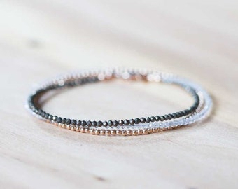 Pyrite & Rainbow Moonstone Bracelet with Rose Gold Fill or Sterling Silver, Delicate Triple Wrap Bracelet, Pyrite Jewelry, Beaded Necklace