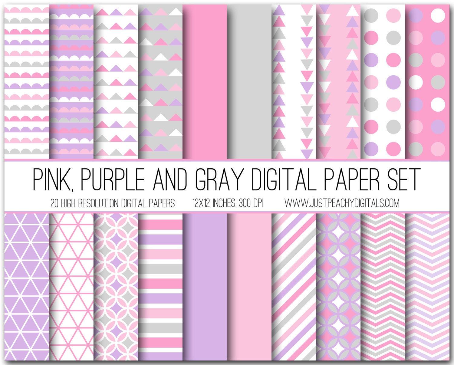 Pink Purple Scrapbook Paper Pack Patterns Creative Market Purple