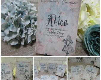8 Vintage Alice in Wonderland Table Number Name Cards Wedding,Tea Party