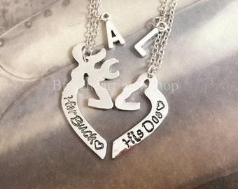 Buck and Doe interlocking,Matching Necklace, His & Hers Jewelry, Custom Couple Gift for Him Her