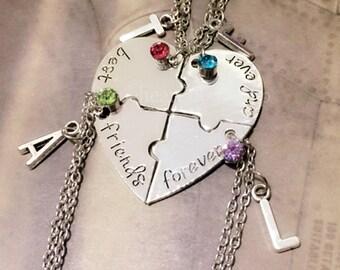 Best Friends Forever 4 Piece Puzzle Necklace Set, Love Crystal,Four Necklace Set, Best Friend Jewelry, Heart Puzzle Necklaces