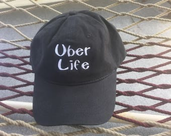 Uber Life - Black Hat With White Letters