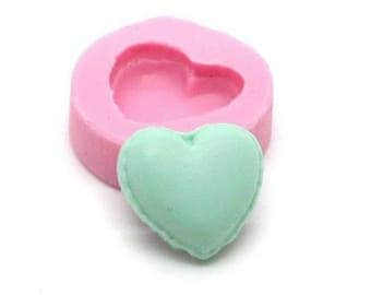 Miniature macaroon heart 15mm silicone mould