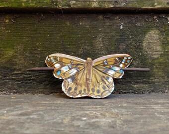 Golden Butterfly Leather Barrette, Buckeye Butterfly, Hair Barrette, Butterfly Hair Clip, Hair Stick, Spread Wings, Mosaic Butterfly, Moth
