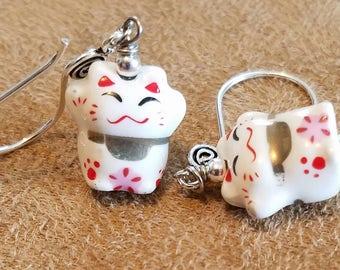 Happy Ceramic Kitty Earrings