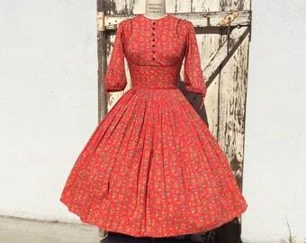 1950s Red Dutch People Novelty Print Dress Small/Medium
