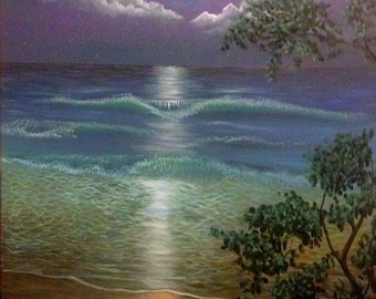 Acrylic Painting of Beach at Night