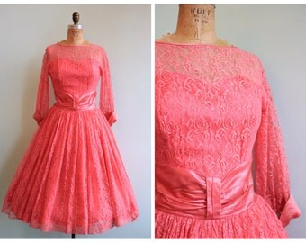 Vintage 1950's Hot Pink Lace and Satin Dress | Size Small