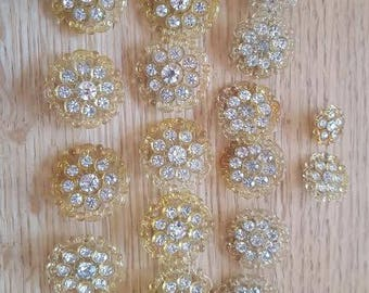 Rhinestone plastic gold buttons, assorted sizes, sold as a set of 17