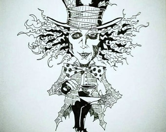 Disney's The Mad Hatter Sharpie Drawing on Canvas, Alice in Wonderland Art, Mad Hatter Art, Mad Hatter Drawing, Mad Hatter Sharpie Drawing