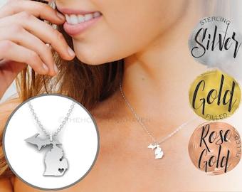 Michigan Necklace - I love Michigan, Michigan heart necklace, Michigan map necklace, gold and rose gold available