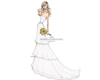 Custom Bridal Fashion illustration, Custom Bridal illustration, Custom Bridal Portrait illustration, Custom fashion Illustration